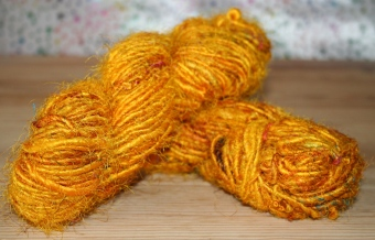 hank of yellow sari silk