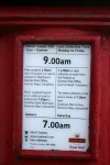 close up of notice - last collection on saturday - 7 am, weekdays - 9 am!