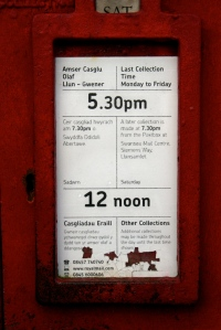 post box outside the post office - says 12 noon