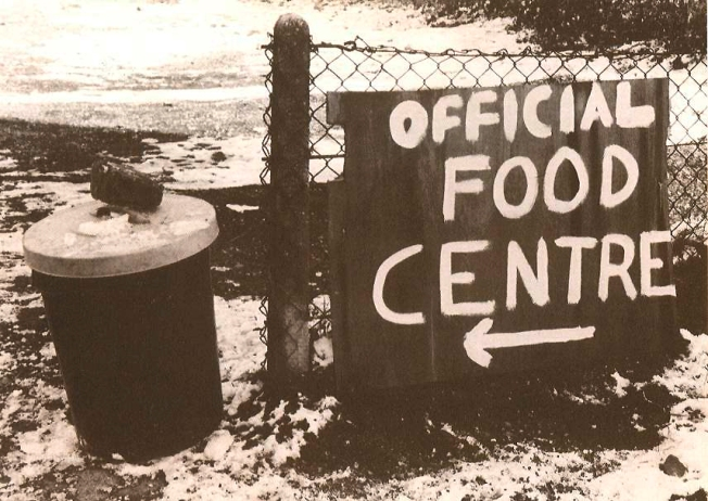 1985 miners strike - sign for the food distribution centre - people contributed because by that time the strike had gone in so long that they literally couldn't afford to feed their families.  I thought is was amusing that the bin was just next to it!
