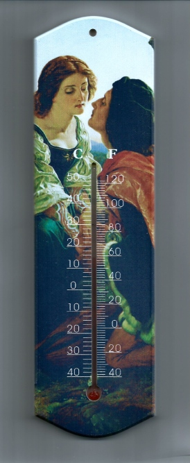 picture wall hung thermometer - two lovers