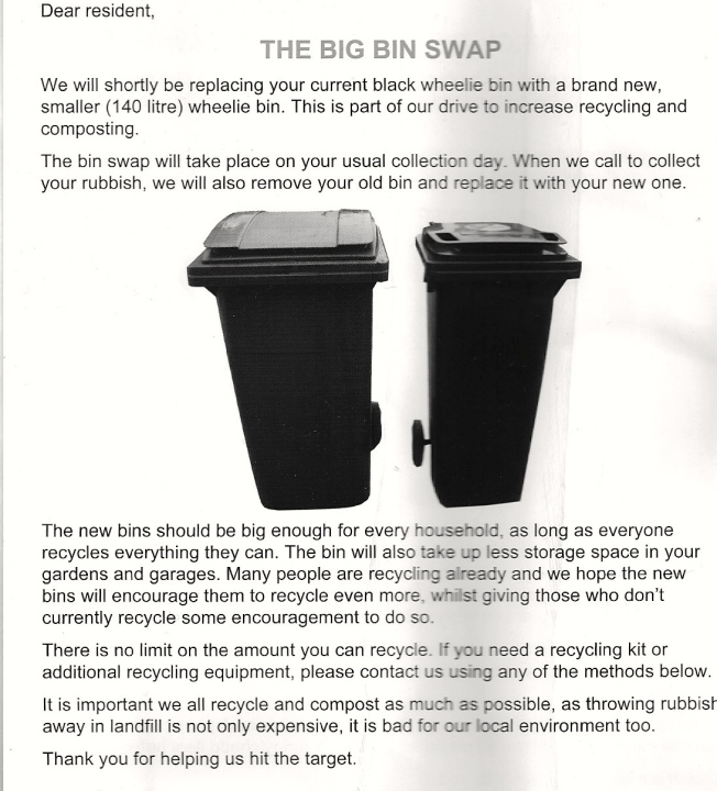 the english version of The Big Bin Swap leaflet