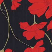 abstract red flowers - 110 cm wide