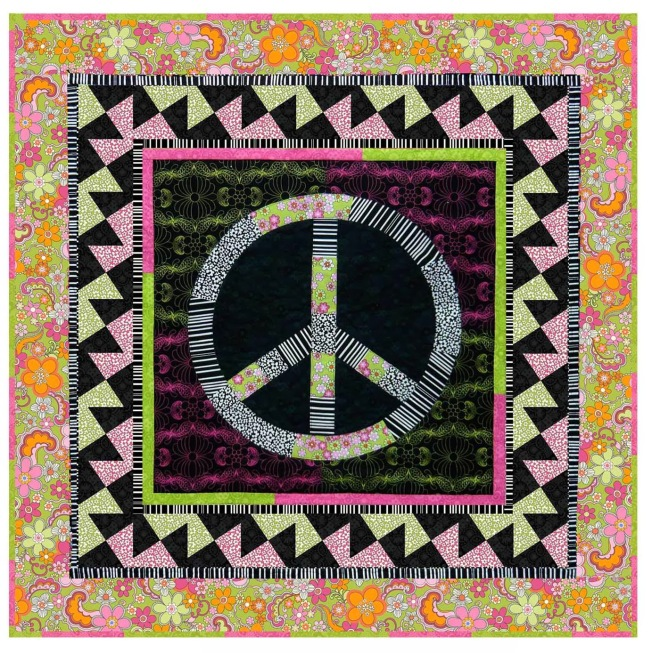 Give Peace A Chance, free quilt pattern by Rosemarie Lavin and Jean Ann Wright for the Feelin' Groovy Fabric Collection at Windham Fabrics