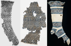 These cotton socks found in Egypt are some of the earliest knitted pieces. From L to R: Textile Museum, ca. 1000 – 1200 AD; Victorian & Albert Museum, ca. 1100 – 1300 AD; Textile Museum, ca. 1300 AD