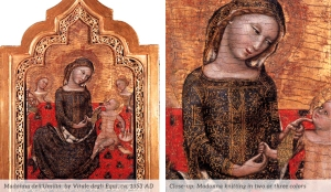 14th century painting of Madonna knitting!