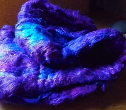 purple/blue hand dyed silk lap