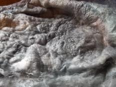 silver grey hand dyed silk lap
