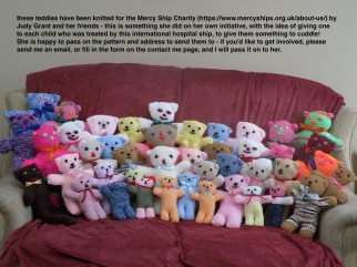 group of teddies knitted for the Mercy Ship Charity by Judy Grant - see text on photo if you would like to join her! (UK)