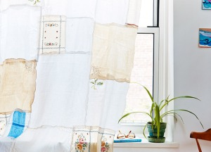 A quirky curtain made from recycled napkins