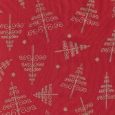 red cotton with gold xmas trees