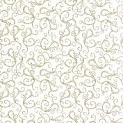 white cotton with gold swirls