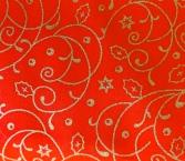 red cotton with gold swirls & stars