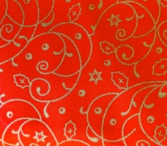 red cotton with gold swirls & stars