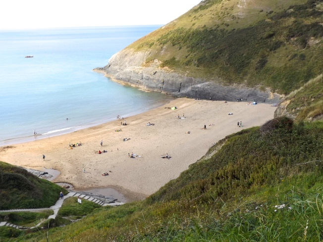 the beach at Mwnt - its a long way down those steps