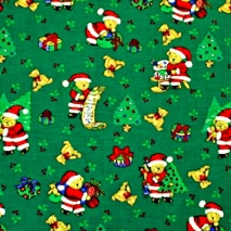 green cotton with santa bears